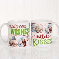 """Candy Cane Wishes and Mistletoe Kisses"" 11 oz. Photo Christmas Mug in White"