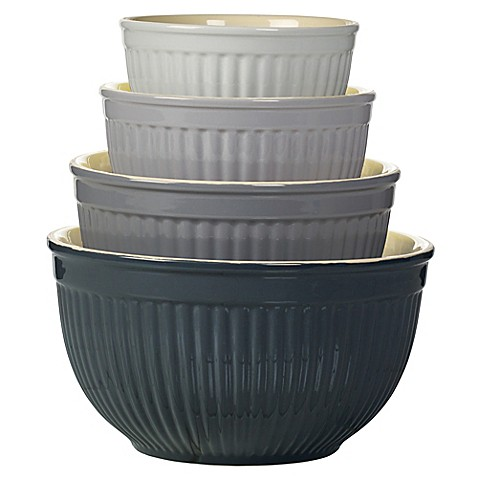 Denmark 4 Piece Ceramic Mixing Bowl Set In Grey Bed Bath