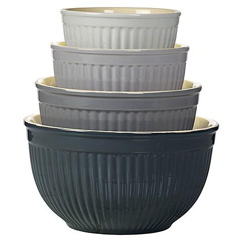 denmark 4 piece ceramic mixing bowl set in grey bed bath beyond. Black Bedroom Furniture Sets. Home Design Ideas
