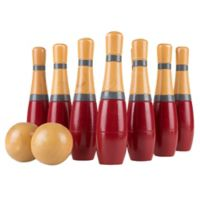 Hey! Play! 8-Inch Wooden Lawn Bowling Set in Red/Grey