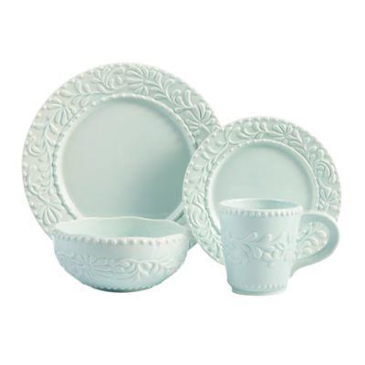 American Atelier Bianca Leaf 16-Piece Dinnerware Set in Blue Mist  sc 1 st  Bed Bath \u0026 Beyond & Buy Bianca 16-Piece Dinnerware Set from Bed Bath \u0026 Beyond