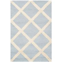Safavieh Cambridge 2-Foot x 3-Foot Eva Wool Rug in Light Blue/Ivory