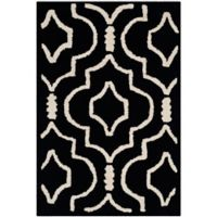 Safavieh Cambridge 2-Foot x 3-Foot Taylor Wool Rug in Black/Ivory