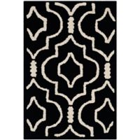 Safavieh Cambridge 2-Foot 6-Inch x 4-Foot Taylor Wool Rug in Black/Ivory