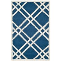 Safavieh Cambridge 2-Foot 6-Inch x 4-Foot Trina Wool Rug in Navy Blue/Ivory