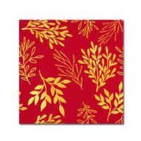Golden Leaves 18-Inch x 18-Inch Canvas Wall Art in Venetian Red