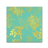 Tina Lavoie 18-Inch x 18-Inch 'Golden Leaves Pattern Aqua' Canvas Art in Red