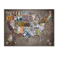 USA License Plate Map 18-Inch x 24-Inch Canvas Wall Art