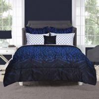 Keira 6-Piece Full Comforter Set in Black/Blue