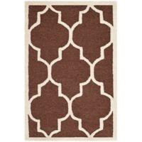 Safavieh Cambridge 2-Foot x 3-Foot Tara Wool Rug in Dark Brown/Ivory
