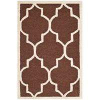 Safavieh Cambridge 2-Foot 6-Inch x 4-Foot Tara Wool Rug in Dark Brown/Ivory