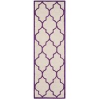 Safavieh Cambridge 2-Foot 6-Inch x 8-Foot Tara Wool Rug in Ivory/Purple