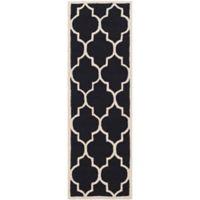 Safavieh Cambridge 2-Foot 6-Inch x 14-Foot Tara Wool Rug in Black/Ivory