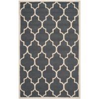 Safavieh Cambridge 4-Foot x 6-Foot Tara Wool Rug in Dark Grey/Ivory