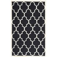 Safavieh Cambridge 5-Foot x 8-Foot Tara Wool Rug in Black/Ivory