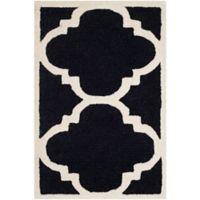 Safavieh Cambridge 2-Foot x 3-Foot Lynn Wool Rug in Black/Ivory