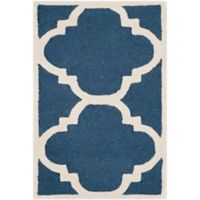 Safavieh Cambridge 2-Foot 6-Inch x 4-Foot Lynn Wool Rug in Navy/Ivory