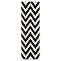 Safavieh Cambridge 2-Foot 6-Inch x 10-Foot Abby Wool Rug in Black/Ivory