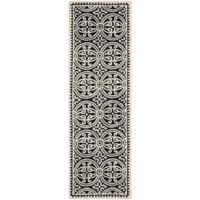 Safavieh Cambridge 2-Foot 6-Inch x 10-Foot Gena Wool Rug in Black/Ivory