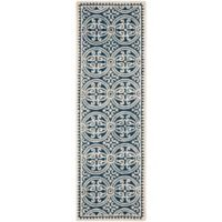Safavieh Cambridge 2-Foot 6-Inch x 10-Foot Gena Wool Rug in Navy Blue/Ivory