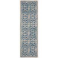 Safavieh Cambridge 2-Foot 6-Inch x 16-Foot Gena Wool Rug in Navy Blue/Ivory