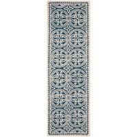 Safavieh Cambridge 2-Foot 6-Inch x 18-Foot Gena Wool Rug in Navy Blue/Ivory