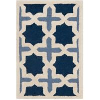 Safavieh Cambridge 2-Foot 6-Inch x 4-Foot Dana Wool Rug in Blue/Ivory