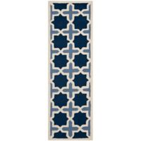 Safavieh Cambridge 2-Foot 6-Inch x 10-Foot Dana Wool Rug in Blue/Ivory