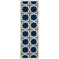 Safavieh Cambridge 2-Foot 6-Inch x 12-Foot Dana Wool Rug in Blue/Ivory