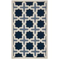 Safavieh Cambridge 4-Foot x 6-Foot Dana Wool Rug in Blue/Ivory