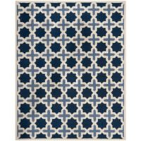 Safavieh Cambridge 9-Foot x 12-Foot Dana Wool Rug in Blue/Ivory