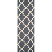 Safavieh Cambridge 2-Foot 6-Inch x 12-Foot Quatrefoil Wool Rug in Dark Grey/Ivory