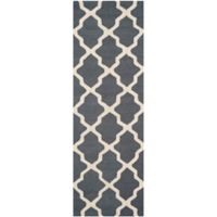 Safavieh Cambridge 2-Foot 6-Inch x 18-Foot Quatrefoil Wool Rug in Dark Grey/Ivory
