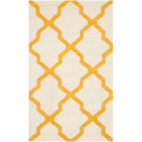 Safavieh Cambridge 3-Foot x 5-Foot Quatrefoil Wool Rug in Ivory/Gold