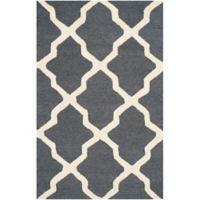 Safavieh Cambridge 3-Foot x 5-Foot Quatrefoil Wool Rug in Dark Grey/Ivory