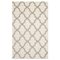 Safavieh Cambridge 5-Foot x 8-Foot Quatrefoil Wool Rug in Ivory/Silver