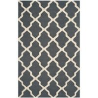 Safavieh Cambridge 6-Foot x 9-Foot Quatrefoil Wool Rug in Dark Grey/Ivory