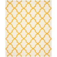 Safavieh Cambridge 8-Foot x 10-Foot Quatrefoil Wool Rug in Ivory/Gold