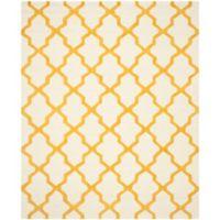 Safavieh Cambridge 9-Foot x 12-Foot Quatrefoil Wool Rug in Ivory/Gold