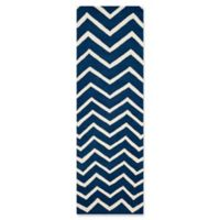 Safavieh Cambridge 2-Foot 6-Inch x 6-Foot Zoe Wool Rug in Navy /Ivory
