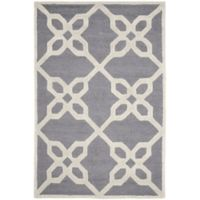 Safavieh Cambridge 4-Foot x 6-Foot Chloe Wool Rug in Dark Grey/Ivory