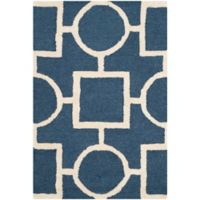 Safavieh Cambridge 2-Foot 6-Inch x 4-Foot Mariel Wool Rug in Navy Blue/Ivory