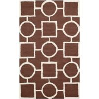 Safavieh Cambridge 2-Foot 6-Inch x 4-Foot Mariel Wool Rug in Dark Brown/Ivory