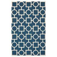 Safavieh Cambridge 5-Foot x 8-Foot Mariel Wool Rug in Navy Blue/Ivory