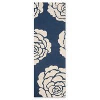 Safavieh Cambridge 2-Foot 6-Inch x 8-Foot Molly Wool Rug in Navy /Ivory