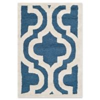 Safavieh Cambridge 2-Foot x 3-Foot Becca Wool Rug in Navy /Ivory
