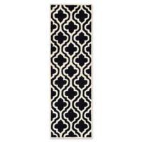 Safavieh Cambridge 2-Foot 6-Inch x 12-Foot Becca Wool Rug in Black/Ivory