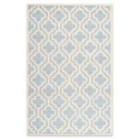 Safavieh Cambridge 4-Foot x 6-Foot Becca Wool Rug in Light Blue/Ivory