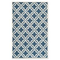 Safavieh Cambridge 4-Foot x 6-Foot Becca Wool Rug in Navy /Ivory