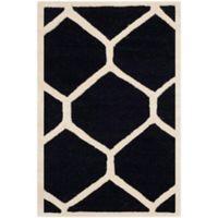 Safavieh Cambridge 2-Foot 6-Inch x 4-Foot Jayme Wool Rug in Black/Ivory